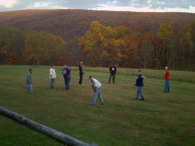 Jenkins Men in Christ Retreat pick up football game.